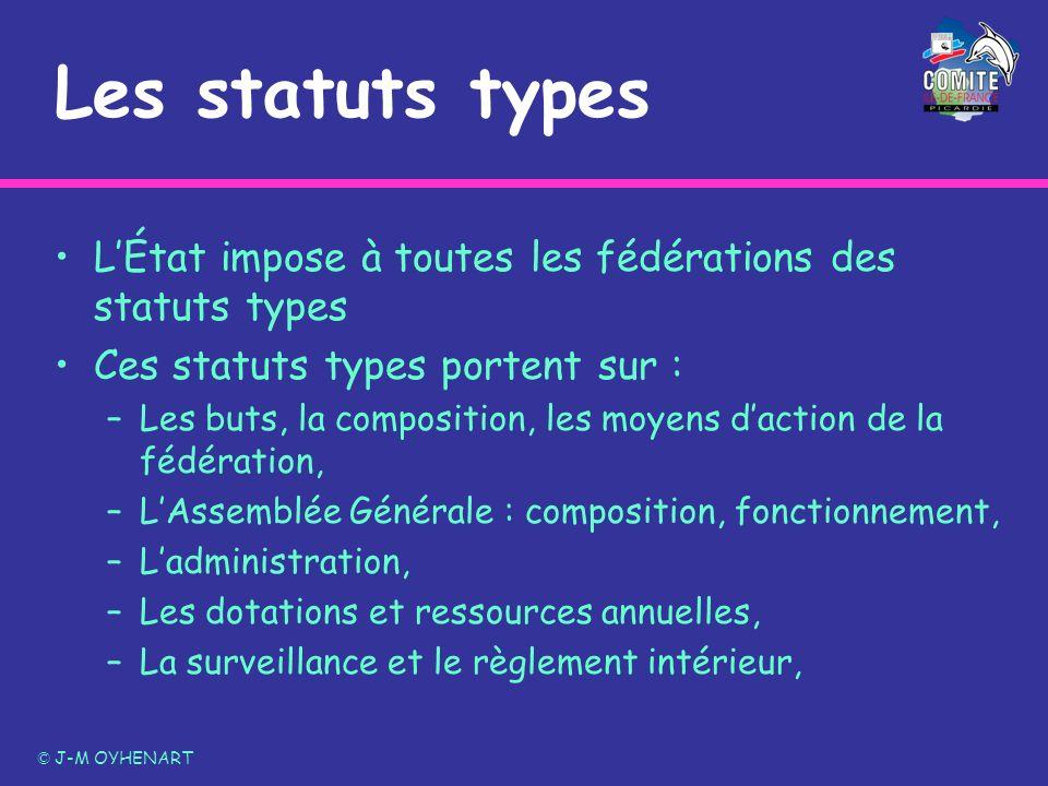 Les statuts types LÉtat impose à toutes les fédérations des statuts types Ces statuts types portent sur : –Les buts, la composition, les moyens dactio