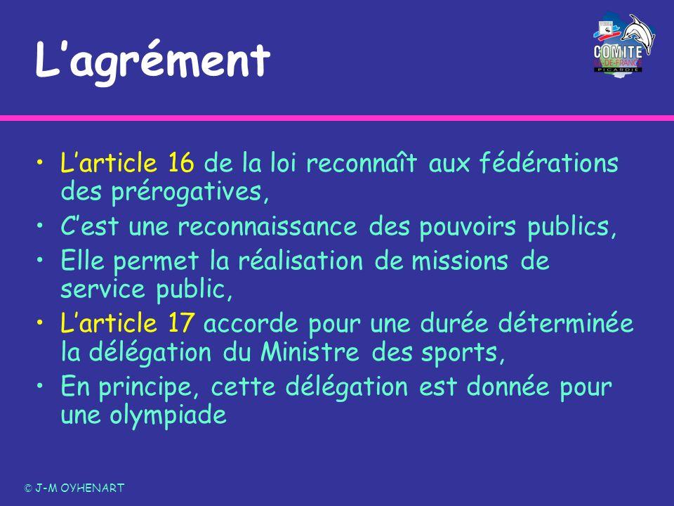 Lagrément Larticle 16 de la loi reconnaît aux fédérations des prérogatives, Cest une reconnaissance des pouvoirs publics, Elle permet la réalisation d