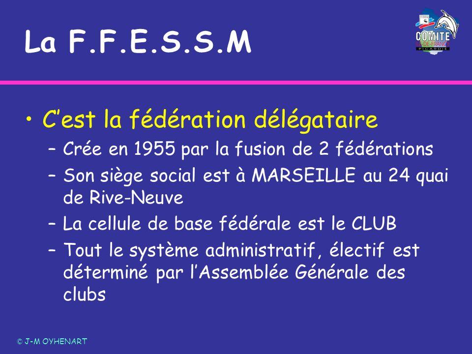 La F.F.E.S.S.M Cest la fédération délégataire –Crée en 1955 par la fusion de 2 fédérations –Son siège social est à MARSEILLE au 24 quai de Rive-Neuve