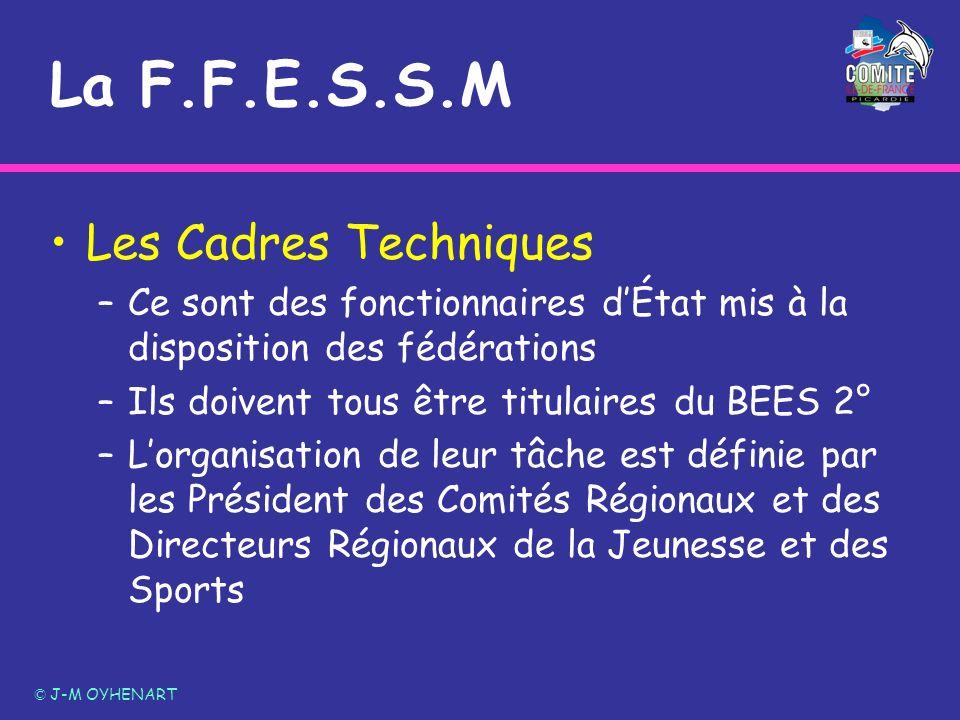 La F.F.E.S.S.M Les Cadres Techniques –Ce sont des fonctionnaires dÉtat mis à la disposition des fédérations –Ils doivent tous être titulaires du BEES