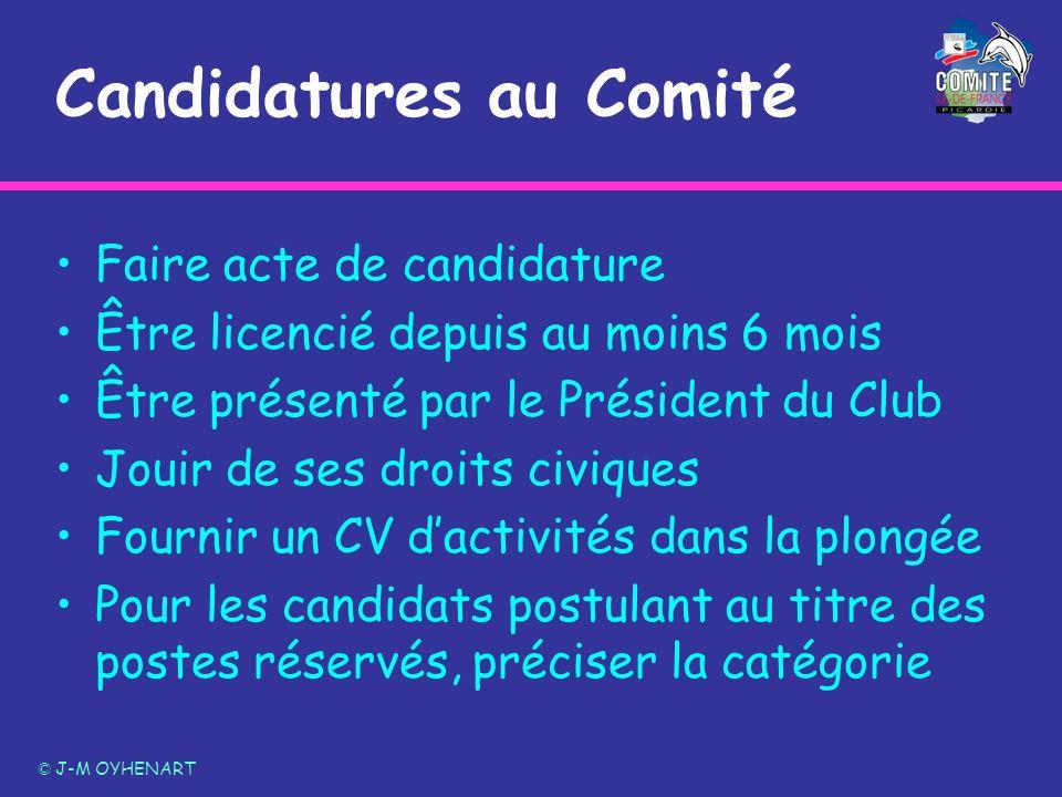Candidatures au Comité Faire acte de candidature Être licencié depuis au moins 6 mois Être présenté par le Président du Club Jouir de ses droits civiq