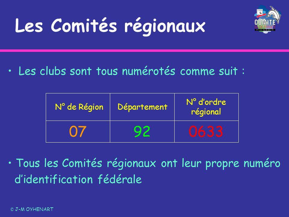 Les Comités régionaux © J-M OYHENART Les clubs sont tous numérotés comme suit : 06339207 N° dordre régional Département N° de Région Tous les Comités