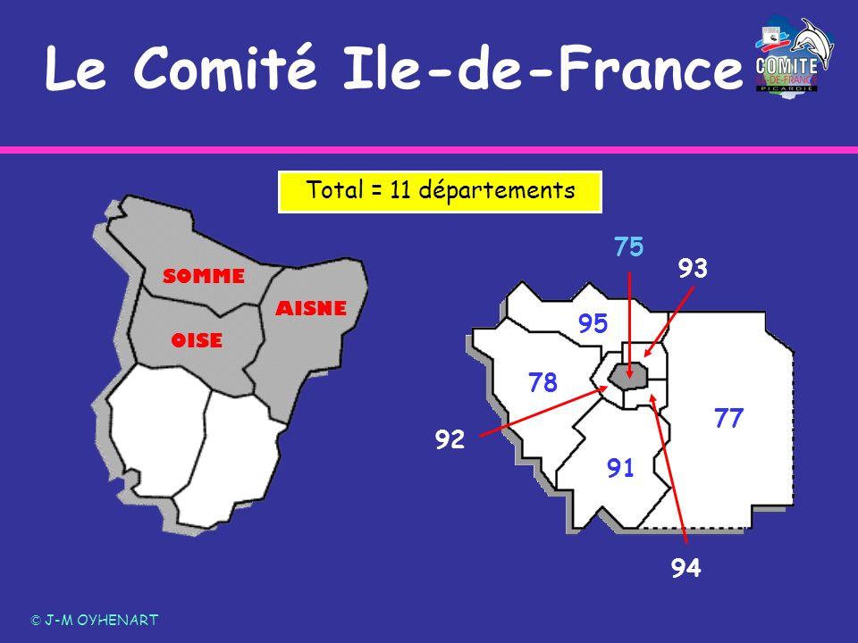 77 78 91 92 94 93 95 75 OISE SOMME AISNE Le Comité Ile-de-France Total = 11 départements