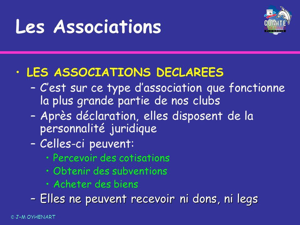 LES ASSOCIATIONS DECLAREES –Cest sur ce type dassociation que fonctionne la plus grande partie de nos clubs –Après déclaration, elles disposent de la