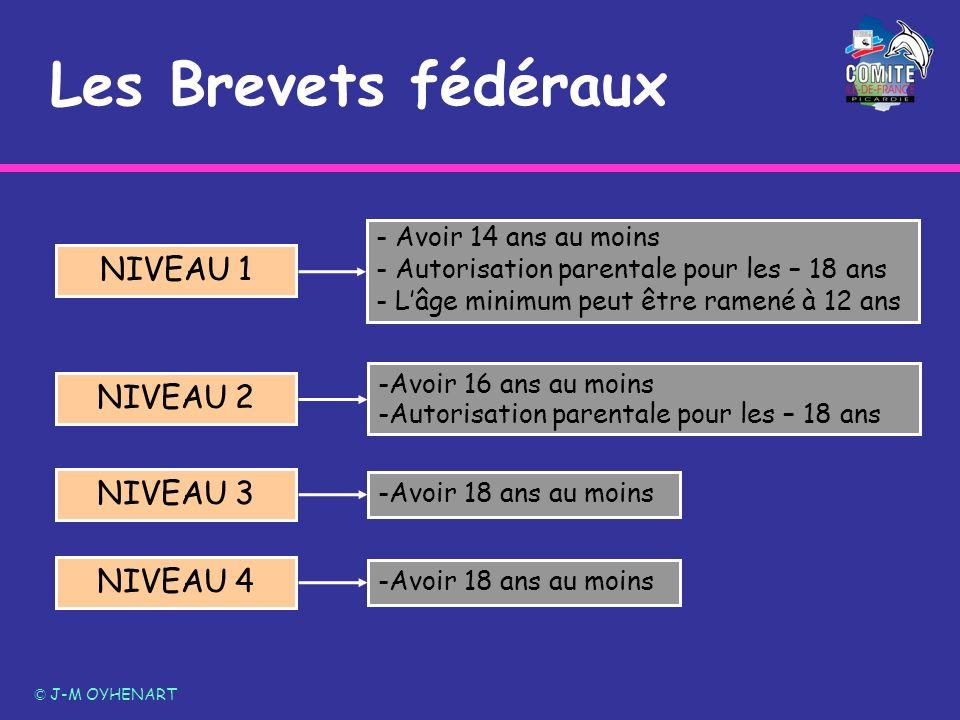 Les Brevets fédéraux © J-M OYHENART NIVEAU 2 NIVEAU 1 NIVEAU 3 NIVEAU 4 - Avoir 14 ans au moins - Autorisation parentale pour les – 18 ans - Lâge mini