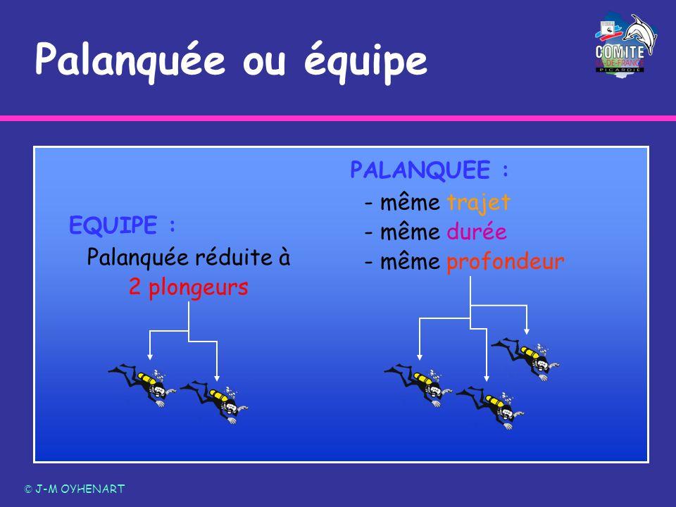 Palanquée ou équipe © J-M OYHENART EQUIPE : Palanquée réduite à 2 plongeurs PALANQUEE : - même trajet - même durée - même profondeur
