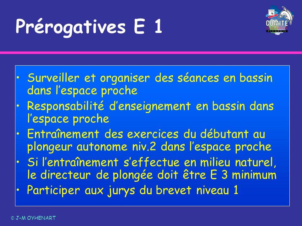 Prérogatives E 1 © J-M OYHENART Surveiller et organiser des séances en bassin dans lespace proche Responsabilité denseignement en bassin dans lespace