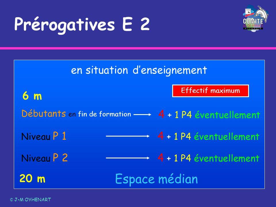 Prérogatives E 2 © J-M OYHENART 20 m 6 m Espace médian Débutants en fin de formation Niveau P 2 en situation denseignement 4 + 1 P4 éventuellement Niv