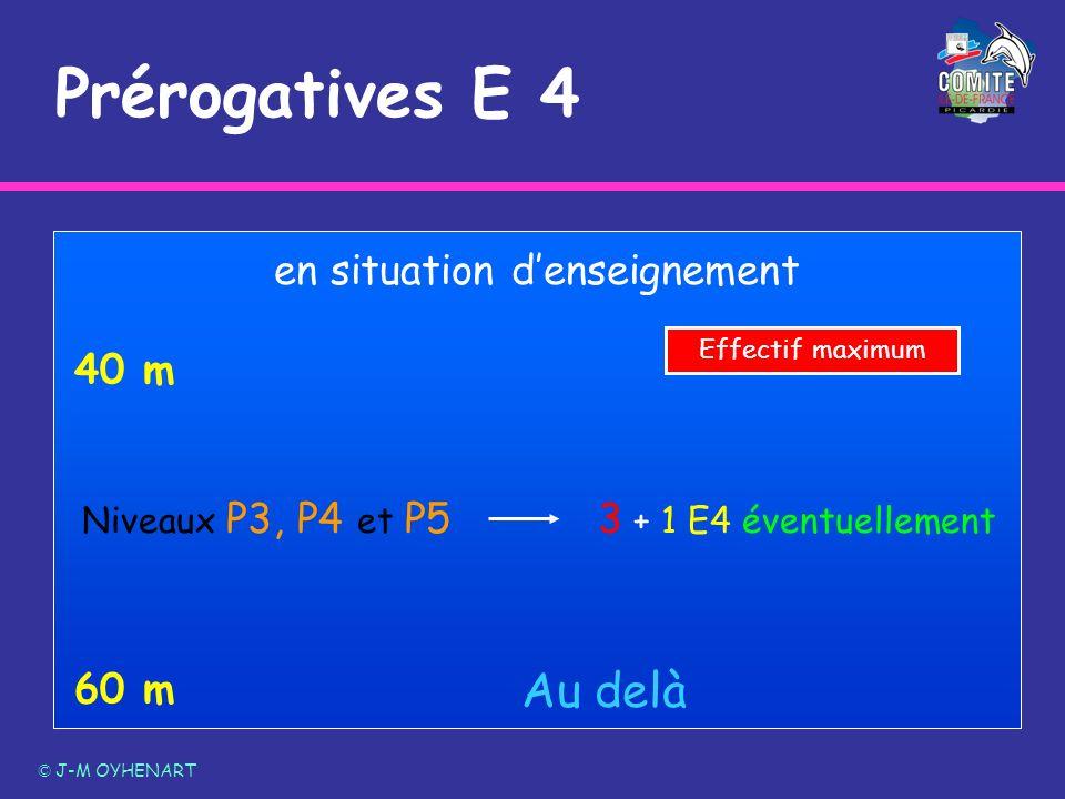 Prérogatives E 4 © J-M OYHENART 60 m 40 m Au delà Niveaux P3, P4 et P5 en situation denseignement 3 + 1 E4 éventuellement Effectif maximum