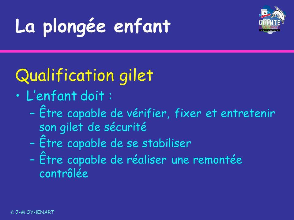 La plongée enfant Qualification gilet Lenfant doit : –Être capable de vérifier, fixer et entretenir son gilet de sécurité –Être capable de se stabilis