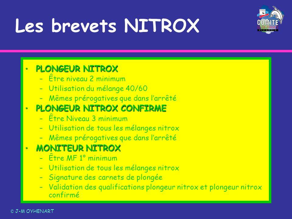 PLONGEUR NITROXPLONGEUR NITROX –Être niveau 2 minimum –Utilisation du mélange 40/60 –Mêmes prérogatives que dans larrêté PLONGEUR NITROX CONFIRMEPLONG