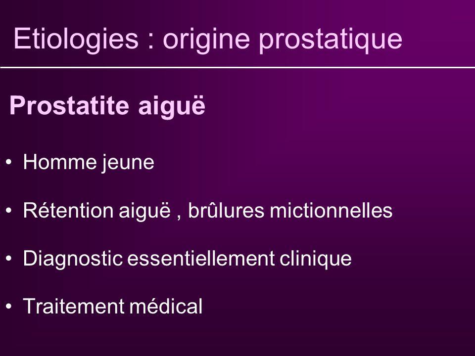 Etiologies : origine prostatique Cause la plus fréquente Dysurie+++, pollakiurie nocturne Diagnostic essentiellement clinique (TR) Traitement médical