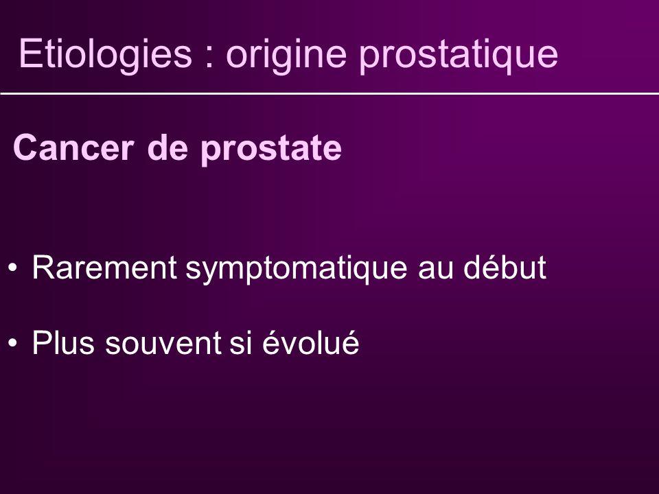 Etiologies : origine prostatique Homme jeune Rétention aiguë, brûlures mictionnelles Diagnostic essentiellement clinique Traitement médical Prostatite