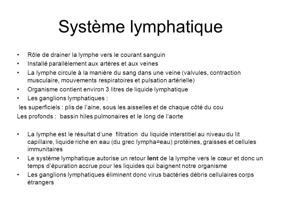 Système lymphatique Rôle de drainer la lymphe vers le courant sanguin Installé parallèlement aux artères et aux veines La lymphe circule à la manière