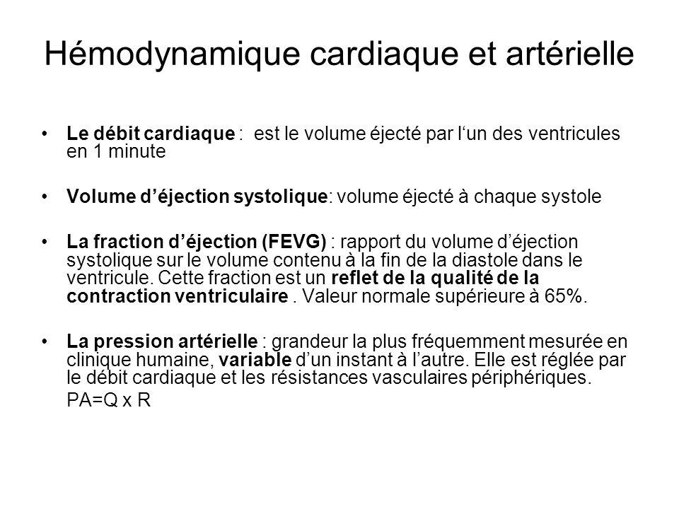 Hémodynamique cardiaque et artérielle Le débit cardiaque : est le volume éjecté par lun des ventricules en 1 minute Volume déjection systolique: volum