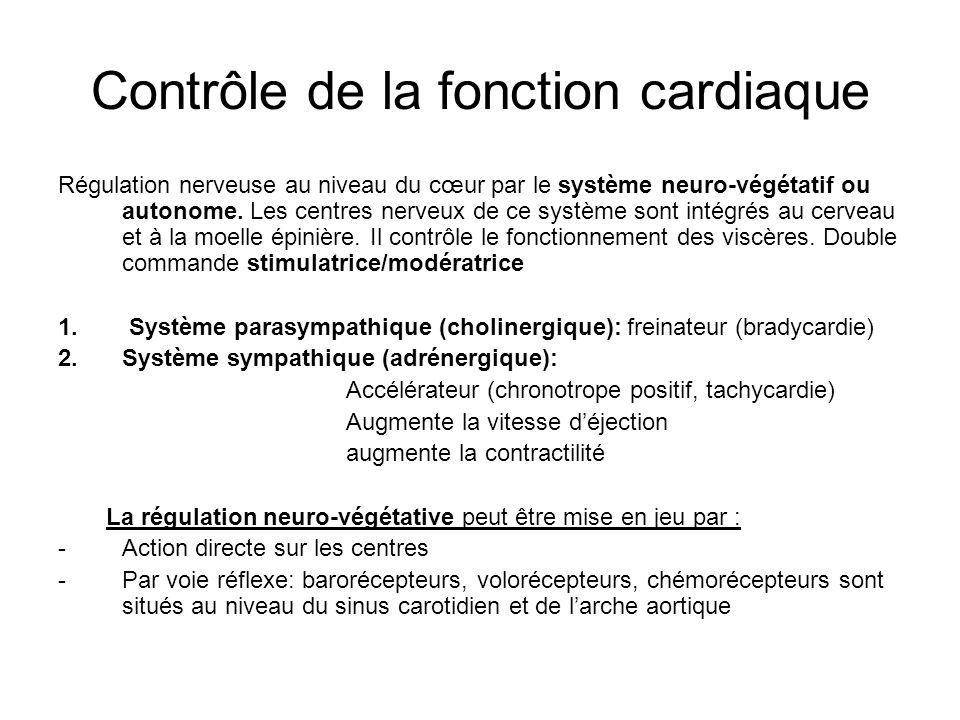 Contrôle de la fonction cardiaque Régulation nerveuse au niveau du cœur par le système neuro-végétatif ou autonome. Les centres nerveux de ce système