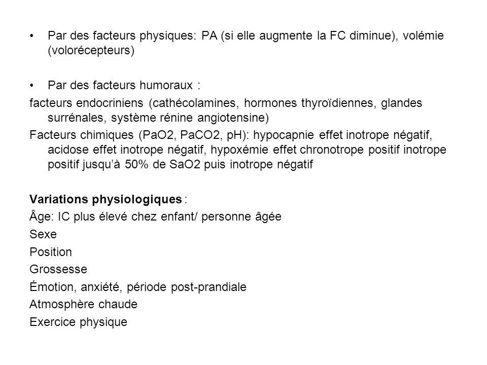 Par des facteurs physiques: PA (si elle augmente la FC diminue), volémie (volorécepteurs) Par des facteurs humoraux : facteurs endocriniens (cathécola