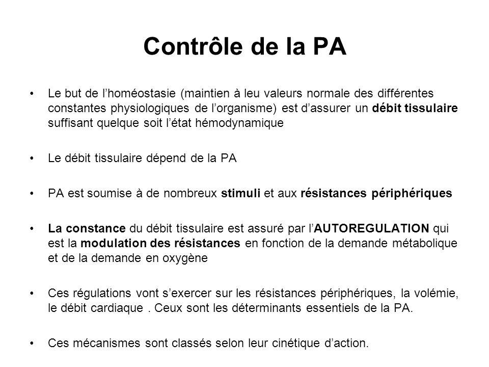 Contrôle de la PA Le but de lhoméostasie (maintien à leu valeurs normale des différentes constantes physiologiques de lorganisme) est dassurer un débi