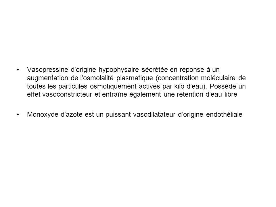 Vasopressine dorigine hypophysaire sécrétée en réponse à un augmentation de losmolalité plasmatique (concentration moléculaire de toutes les particule