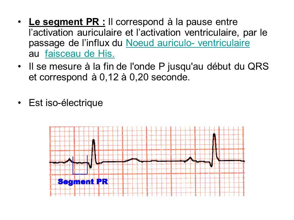 Le segment PR : Il correspond à la pause entre lactivation auriculaire et lactivation ventriculaire, par le passage de linflux du Noeud auriculo- vent