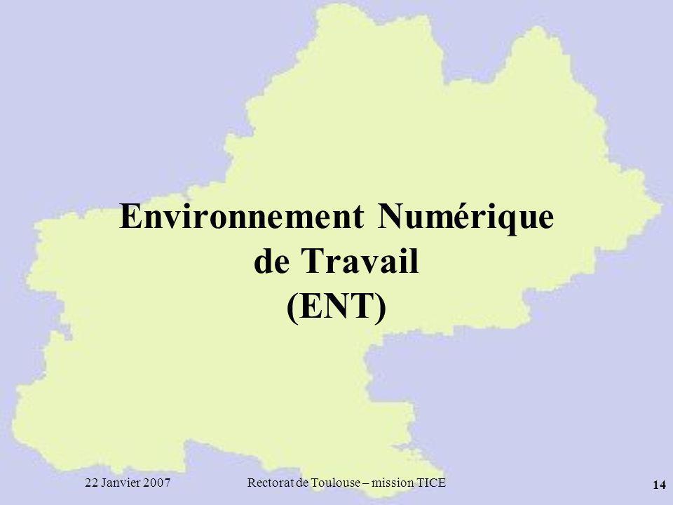 22 Janvier 2007Rectorat de Toulouse – mission TICE 14 Environnement Numérique de Travail (ENT)