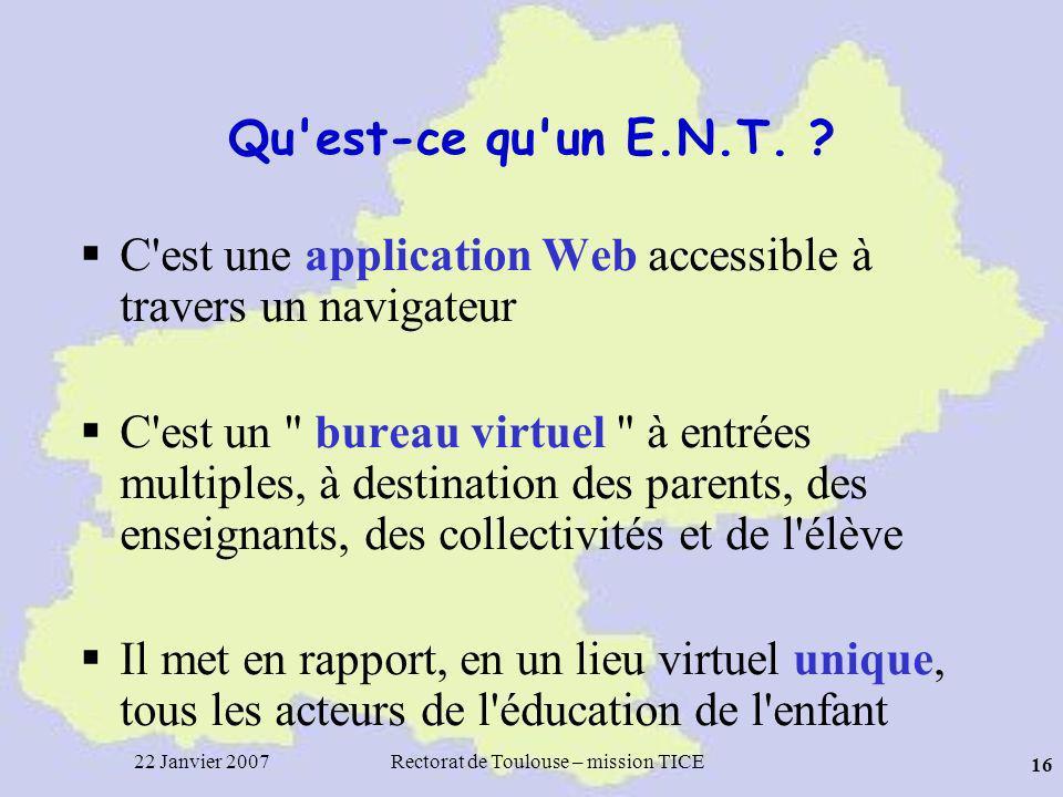 22 Janvier 2007Rectorat de Toulouse – mission TICE 16 Qu est-ce qu un E.N.T.