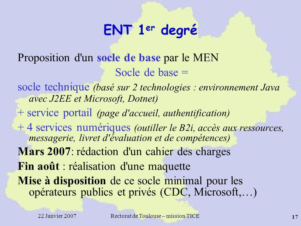 22 Janvier 2007Rectorat de Toulouse – mission TICE 17 ENT 1 er degré Proposition d'un socle de base par le MEN Socle de base = socle technique (basé s