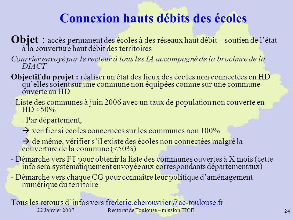 22 Janvier 2007Rectorat de Toulouse – mission TICE 24 Connexion hauts débits des écoles Objet : accès permanent des écoles à des réseaux haut débit – soutien de létat à la couverture haut débit des territoires Courrier envoyé par le recteur à tous les IA accompagné de la brochure de la DIACT Objectif du projet : réaliser un état des lieux des écoles non connectées en HD quelles soient sur une commune non équipées comme sur une commune ouverte au HD - Liste des communes à juin 2006 avec un taux de population non couverte en HD >50%.
