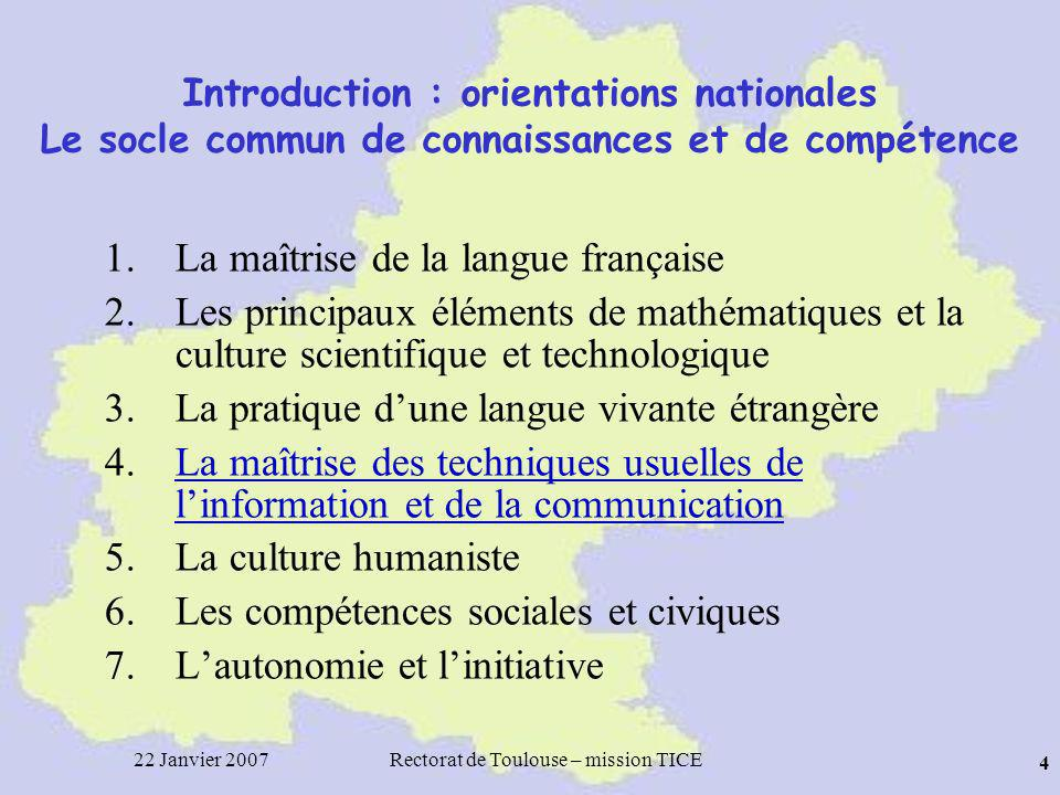 22 Janvier 2007Rectorat de Toulouse – mission TICE 45 LENT Midi-Pyrénées Présentation des services offerts http://ent.midipyrenees.fr/ http://college.ent.midipyrenees.frhttp://college.ent.midipyrenees.fr/ http://lycee.ent.midipyrenees.fr/
