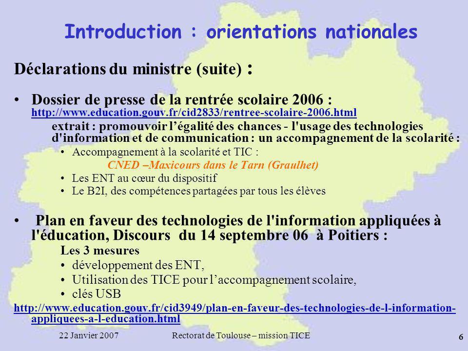 22 Janvier 2007Rectorat de Toulouse – mission TICE 37 TBI dans PRIMTICE Janvier 2007 : 249 scénarios TBI indexés dans PrimTICE