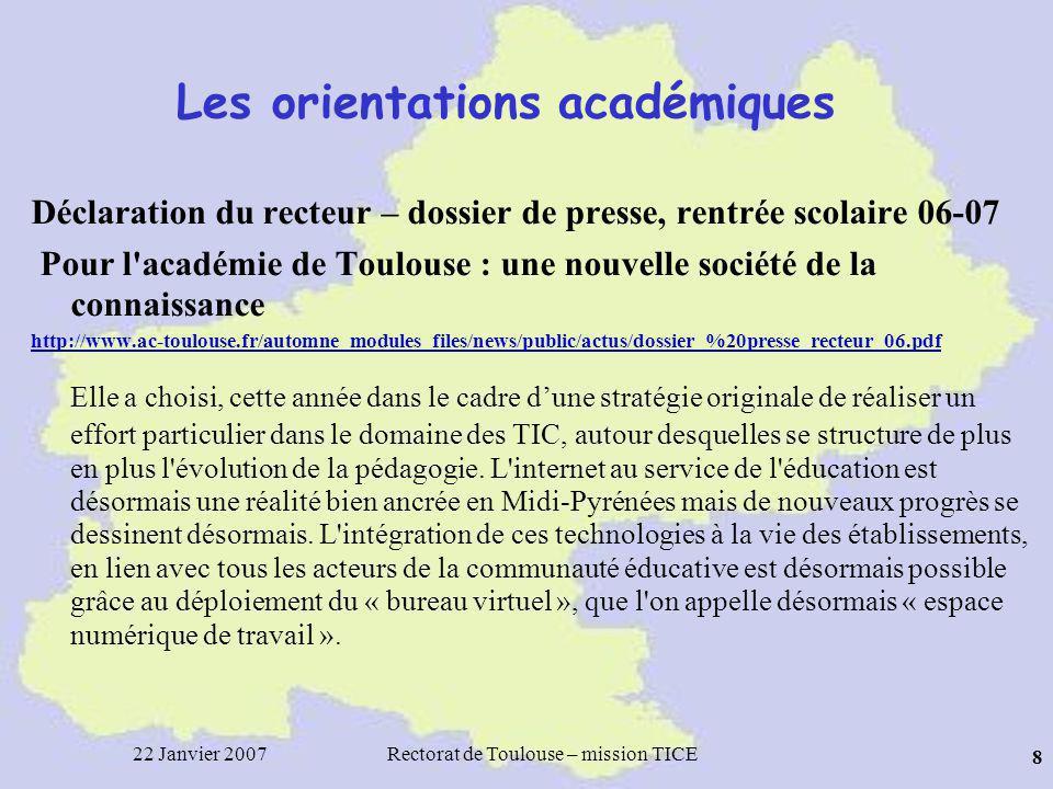 22 Janvier 2007Rectorat de Toulouse – mission TICE 49 C2i Niveau 1: –Généralisation en cours –Forte demande de la part des étudiants –Réponse « variée » du côté des universités –Pb des « autres » publics (enseignants déjà en poste) http://www2.educnet.education.fr/sections/formation/certification/c2i-etud/ Niveau 2 « Enseignant » –Circulaire BO du 14 septembre 2006 http://www.education.gouv.fr/bo/2006/33/MENT0602067C.htm Totale généralisation IUFM « établissement certificateur » Un référentiel national Évaluation et validation des compétences tout au long de l année, ensemble des disciplines et des formateurs concernés