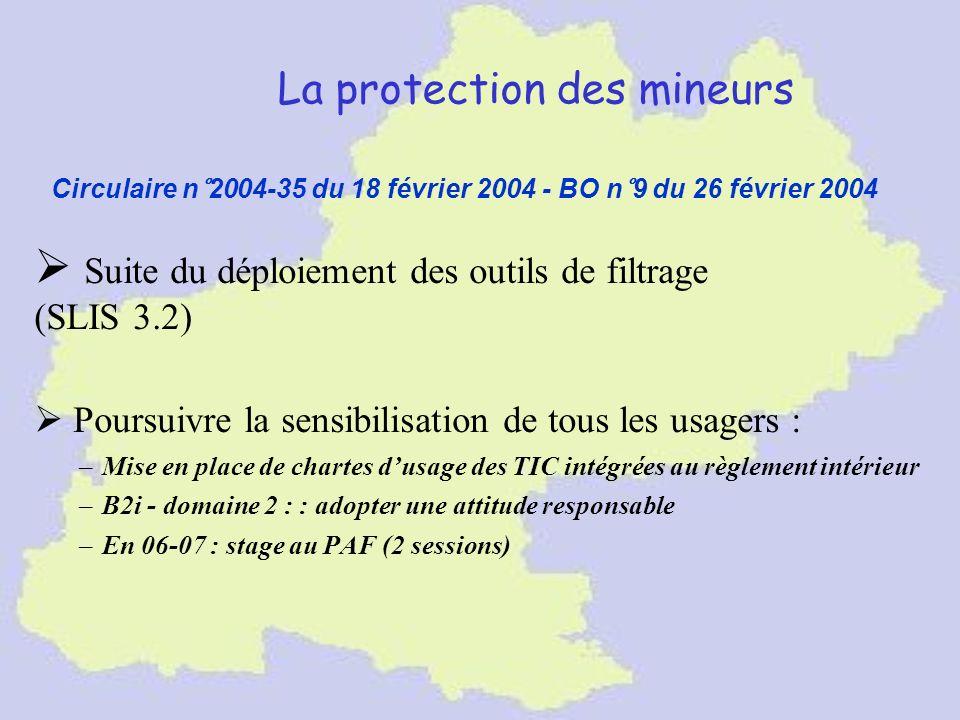 La protection des mineurs Suite du déploiement des outils de filtrage (SLIS 3.2) Poursuivre la sensibilisation de tous les usagers : –Mise en place de