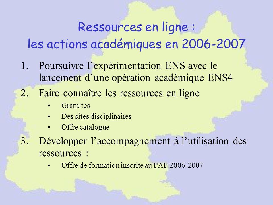 Ressources en ligne : les actions académiques en 2006-2007 1.Poursuivre lexpérimentation ENS avec le lancement dune opération académique ENS4 2.Faire