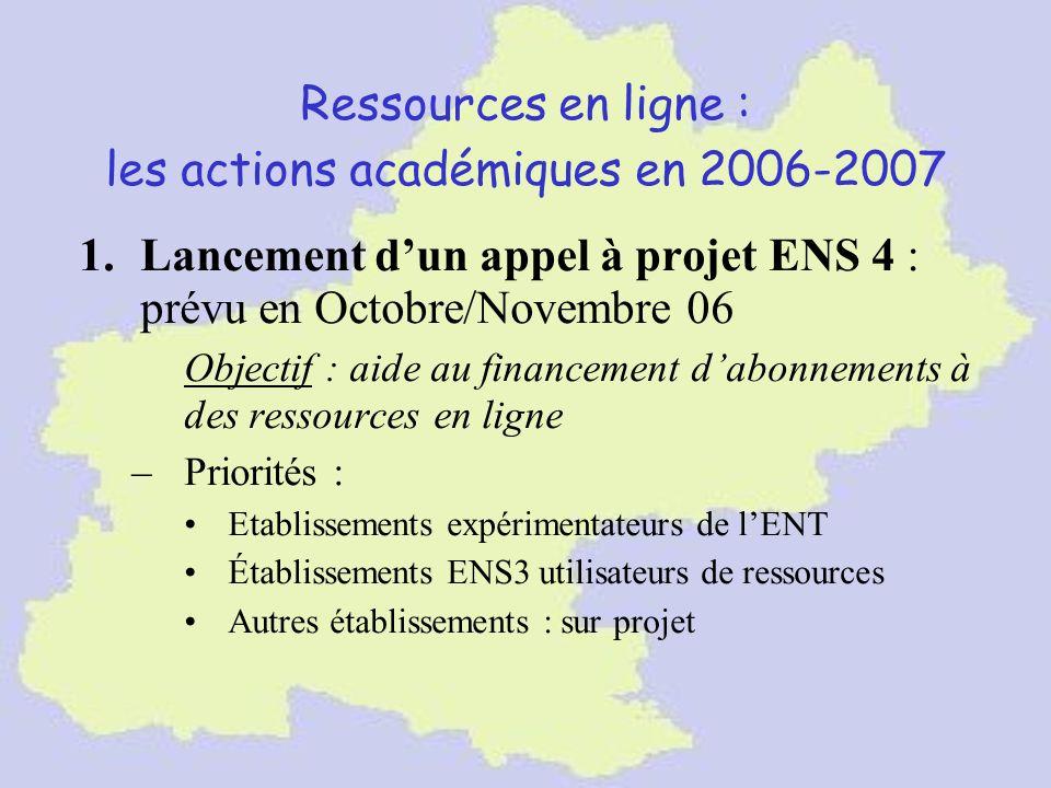 Ressources en ligne : les actions académiques en 2006-2007 1.Lancement dun appel à projet ENS 4 : prévu en Octobre/Novembre 06 Objectif : aide au fina