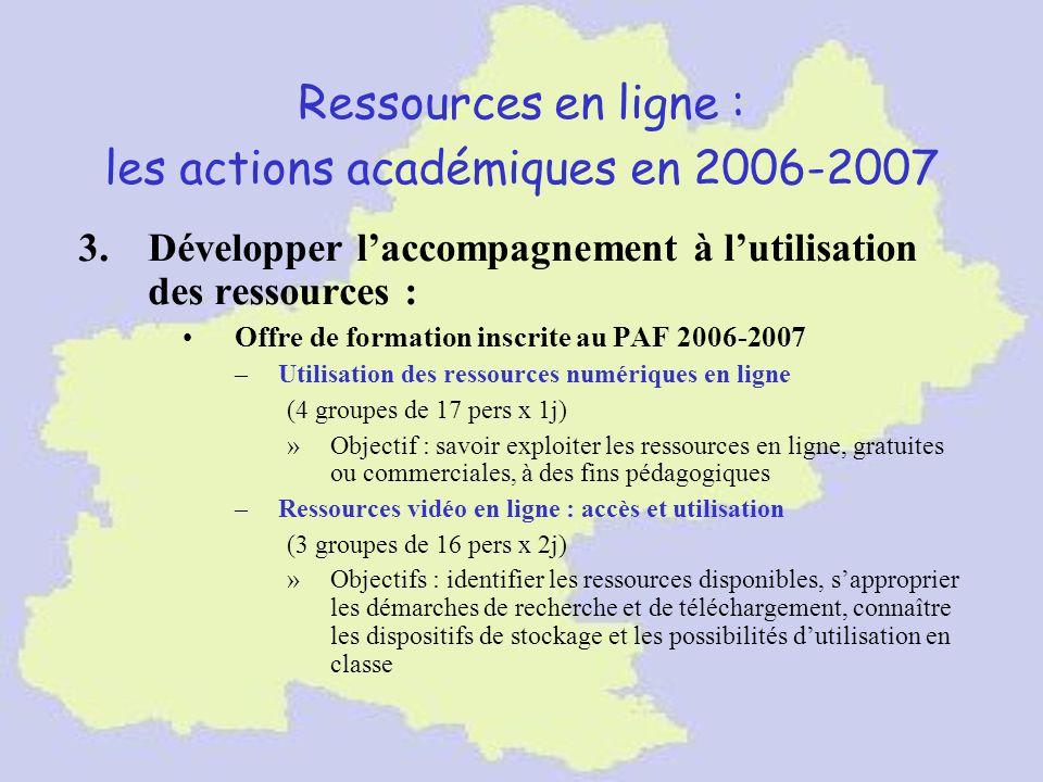 Ressources en ligne : les actions académiques en 2006-2007 3.Développer laccompagnement à lutilisation des ressources : Offre de formation inscrite au