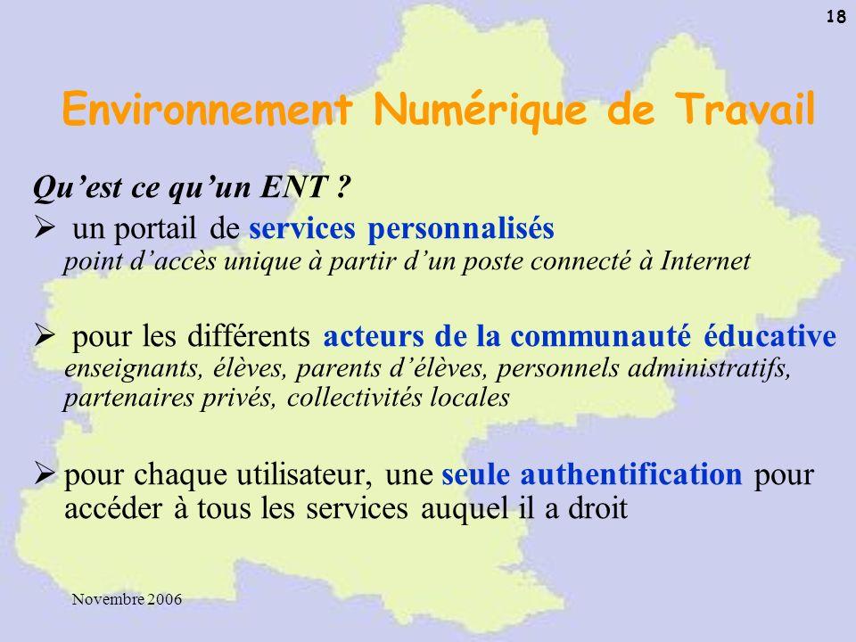 Novembre 2006 18 Environnement Numérique de Travail Quest ce quun ENT ? un portail de services personnalisés point daccès unique à partir dun poste co