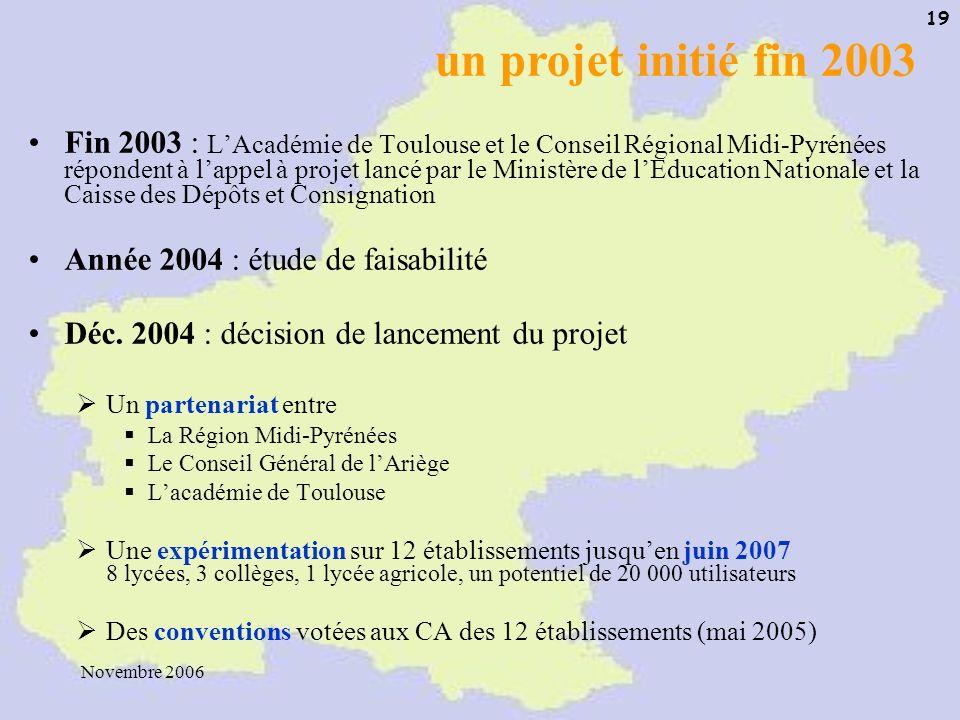 Novembre 2006 19 Fin 2003 : LAcadémie de Toulouse et le Conseil Régional Midi-Pyrénées répondent à lappel à projet lancé par le Ministère de lEducatio