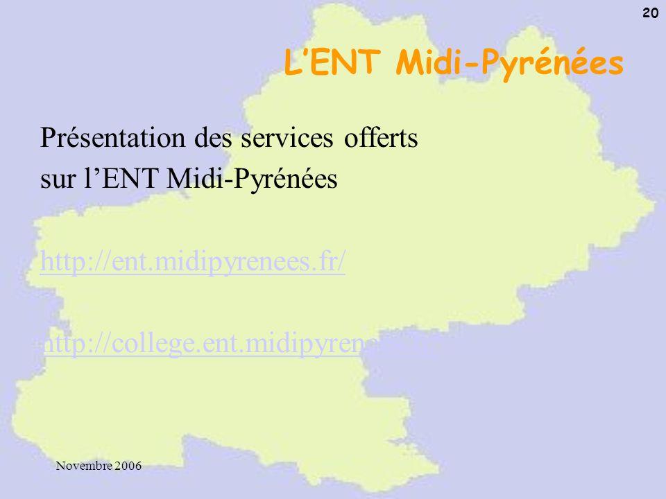 Novembre 2006 20 LENT Midi-Pyrénées Présentation des services offerts sur lENT Midi-Pyrénées http://ent.midipyrenees.fr/ http://college.ent.midipyrene
