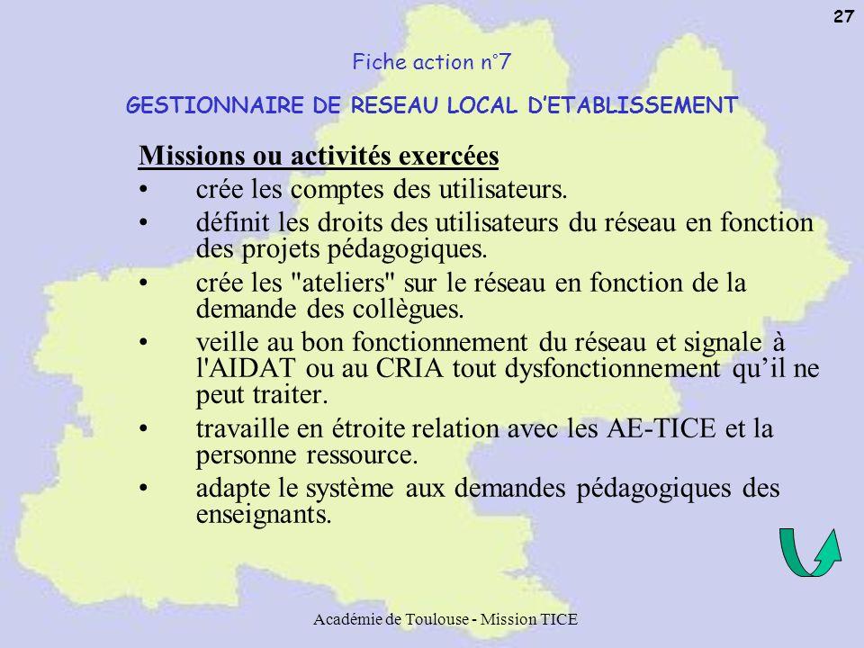 Académie de Toulouse - Mission TICE 27 Fiche action n°7 GESTIONNAIRE DE RESEAU LOCAL DETABLISSEMENT Missions ou activités exercées crée les comptes de