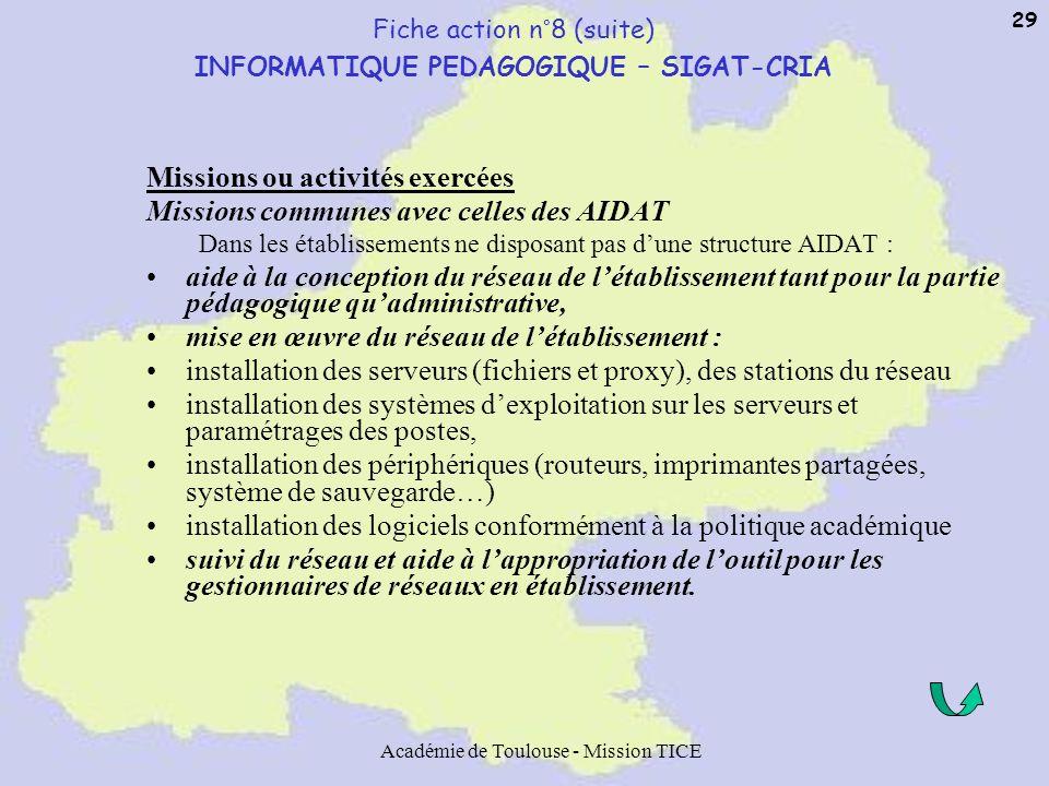 Académie de Toulouse - Mission TICE 29 Fiche action n°8 (suite) INFORMATIQUE PEDAGOGIQUE – SIGAT-CRIA Missions ou activités exercées Missions communes