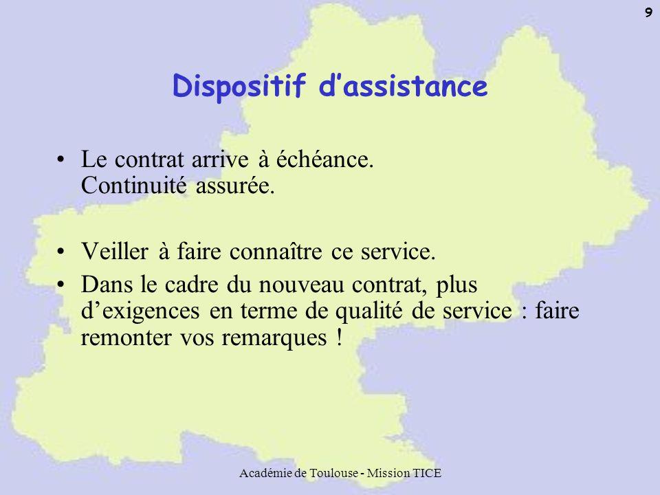 Académie de Toulouse - Mission TICE 9 Dispositif dassistance Le contrat arrive à échéance. Continuité assurée. Veiller à faire connaître ce service. D