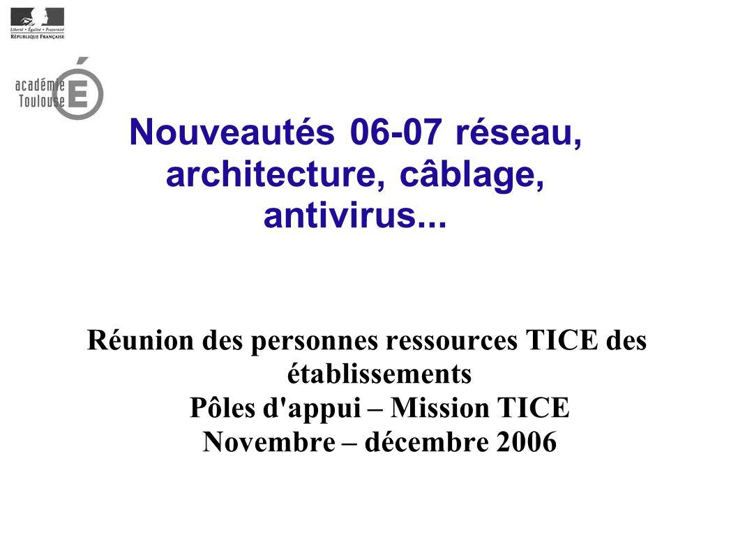 Nouveautés 06-07 réseau, architecture, câblage, antivirus... Réunion des personnes ressources TICE des établissements Pôles d'appui – Mission TICE Nov