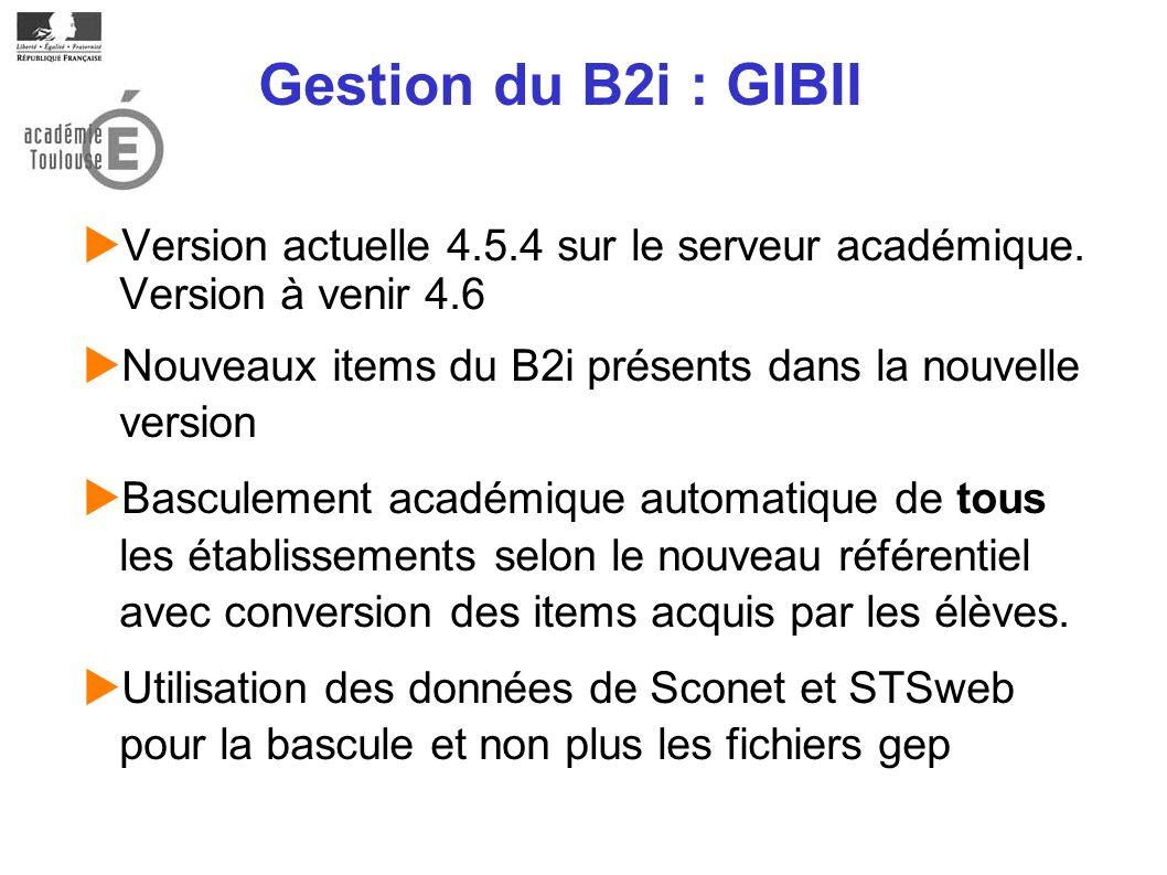 Gestion du B2i : GIBII Version actuelle 4.5.4 sur le serveur académique. Version à venir 4.6 Nouveaux items du B2i présents dans la nouvelle version B
