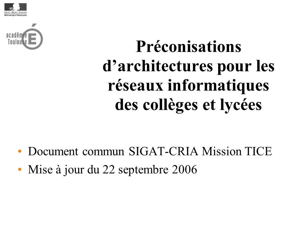 Document commun SIGAT-CRIA Mission TICE Mise à jour du 22 septembre 2006 Préconisations darchitectures pour les réseaux informatiques des collèges et lycées