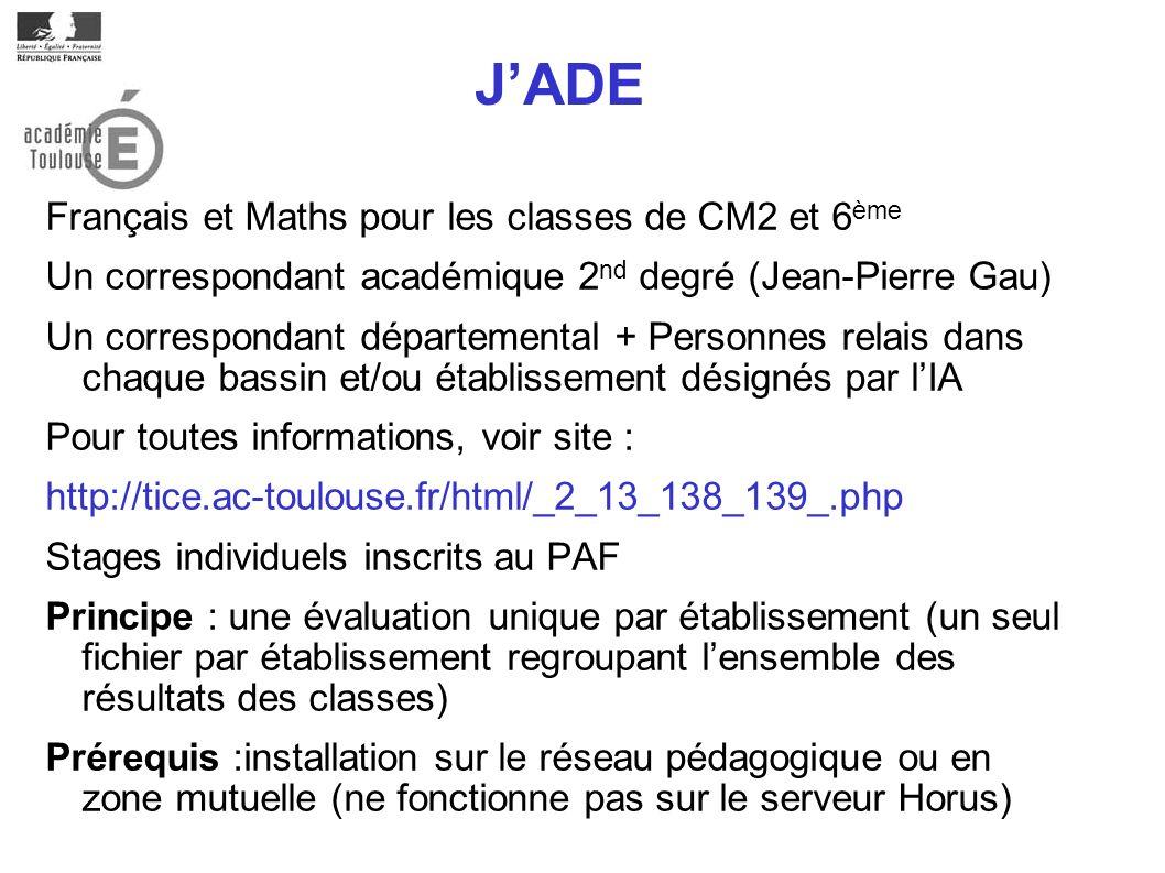 JADE Français et Maths pour les classes de CM2 et 6 ème Un correspondant académique 2 nd degré (Jean-Pierre Gau) Un correspondant départemental + Pers