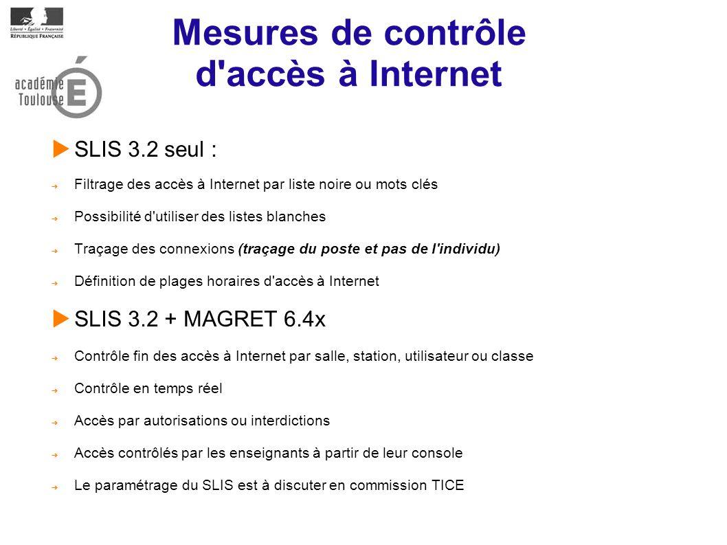 Mesures de contrôle d accès à Internet SLIS 3.2 seul : Filtrage des accès à Internet par liste noire ou mots clés Possibilité d utiliser des listes blanches Traçage des connexions (traçage du poste et pas de l individu) Définition de plages horaires d accès à Internet SLIS 3.2 + MAGRET 6.4x Contrôle fin des accès à Internet par salle, station, utilisateur ou classe Contrôle en temps réel Accès par autorisations ou interdictions Accès contrôlés par les enseignants à partir de leur console Le paramétrage du SLIS est à discuter en commission TICE