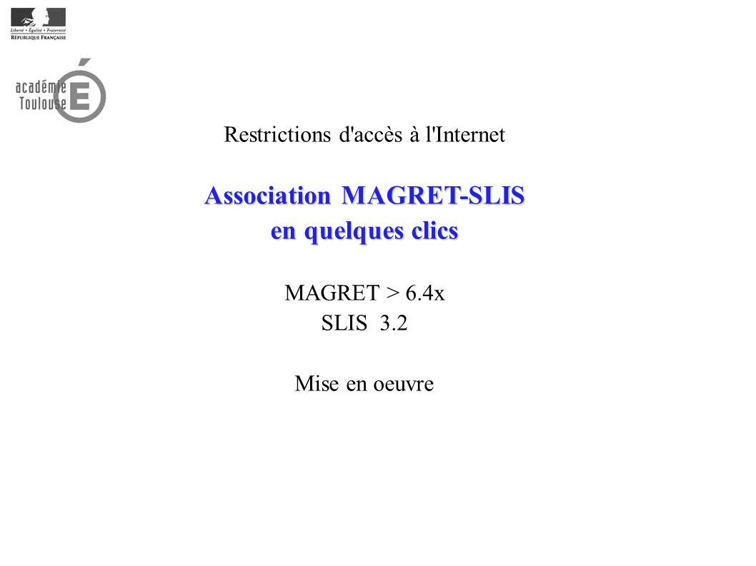 Restrictions d accès à l Internet Association MAGRET-SLIS en quelques clics MAGRET > 6.4x SLIS 3.2 Mise en oeuvre