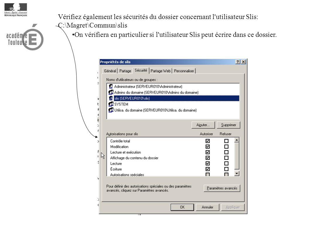Vérifiez également les sécurités du dossier concernant l utilisateur Slis: C:\Magret\Commun\slis On vérifiera en particulier si l utilisateur Slis peut écrire dans ce dossier.