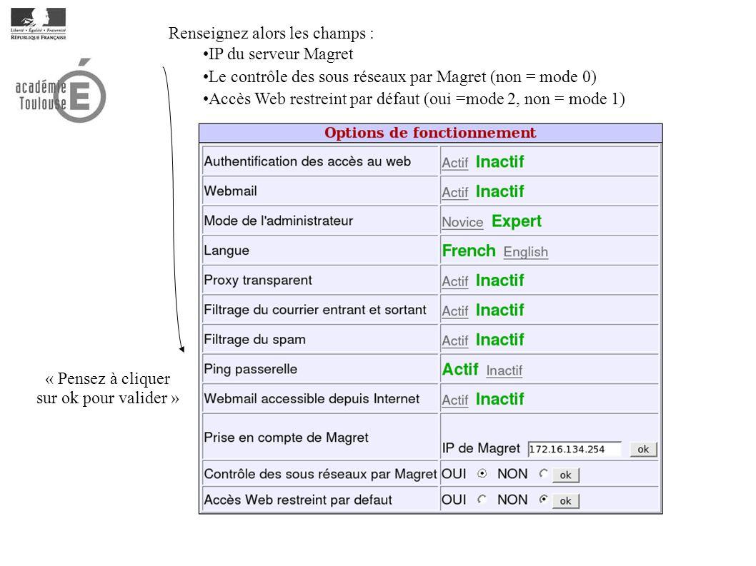 Renseignez alors les champs : IP du serveur Magret Le contrôle des sous réseaux par Magret (non = mode 0) Accès Web restreint par défaut (oui =mode 2, non = mode 1) « Pensez à cliquer sur ok pour valider »