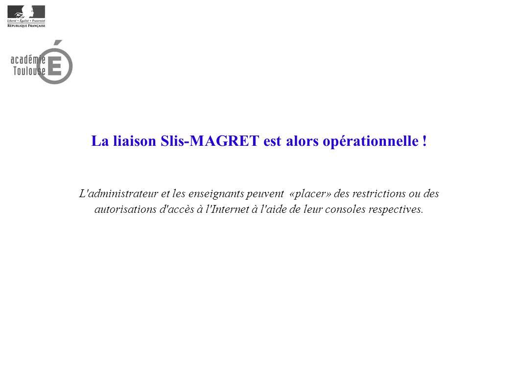 La liaison Slis-MAGRET est alors opérationnelle ! L'administrateur et les enseignants peuvent «placer» des restrictions ou des autorisations d'accès à